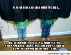 Funny kid playing hide and seek Funny picture