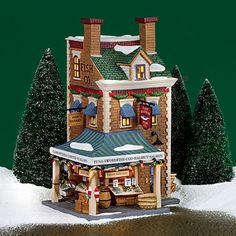 Dept 56 Christmas in The City East Harbor Fish Co. 58946 for sale online Christmas History, Christmas In The City, Cabin Christmas, Christmas Scenes, Christmas Cats, Christmas Houses, Department 56 Christmas Village, Christmas Village Display, Christmas Villages