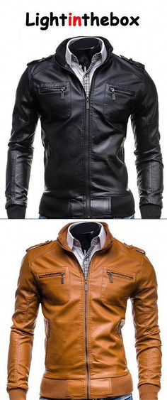 Men s Casual Daily Vintage Spring Fall Leather Jacket  wintermensfashion  Man Set d33757a294