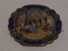 """Silver and enameled Italian compact; """"800"""" silver"""