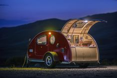 The Vistabule Teardrop Trailer shines even at night