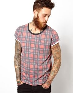 ASOS T-Shirt With All Over Tartan Print And Roll Sleeve