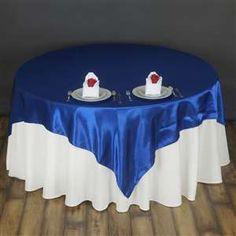 "Tableclothfactort.com satin royal blue 72"" overlay"