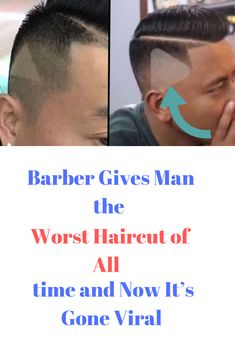 Barber Gives Man the Worst Haircut of All Time — and Now It's Gone Viral Long Hair On Top, Hair To One Side, Current Hair Trends, Barber Man, Shaved Side Hairstyles, Barbers Cut, Clean Shaven, Shaved Sides, Trending Hairstyles