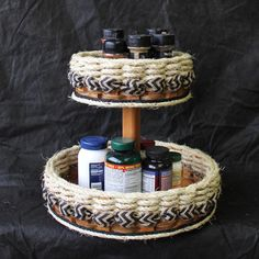 Shabby Chic Collection-- Double Lazy Susan Basket w/ribbon