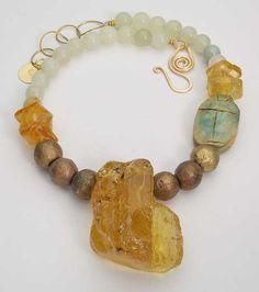 ANNALEI Huge Amber Chunk Jade Egyptian by sandrawebsterjewelry, $249.95