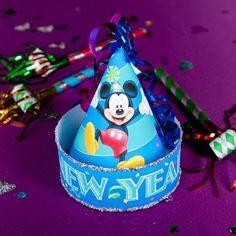 Mickey's New Year Celebration Hat  free printable for your kid's New Year's Eve celebration.