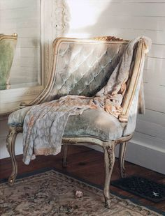 Pale blue velvet chair/Couture Prairie by Rachel Ashwell