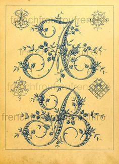 antique french embrodery alphabet letters initials rosebuds