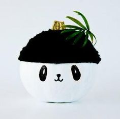 Panda Pumpkin Project for Kids | This pumpkin painting craft is a safe way for the kids to decorate pumpkins for Halloween this year!