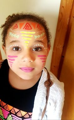 aztec face painting tribal face painting can be used for adults or children my daughter wanted her face paint to match her top it was quick easy a ? Indian Face Paints, African Face Paint, Tribal Face Paints, Face Painting Tutorials, Face Painting Designs, Adult Face Painting, Painting For Kids, Glow Face Paint, Tinta Neon