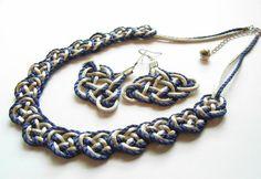 Nudo chino collar aretes plata 925 azul