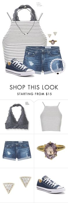 """""""Summer Days"""" by auburnlady ❤ liked on Polyvore featuring Aéropostale, Topshop, AG Adriano Goldschmied, Adina Reyter and Converse"""