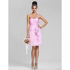 Sheath/Column Sweetheart Knee-length Chiffon Bridesmaid Dress(568053) – USD $ 67.99