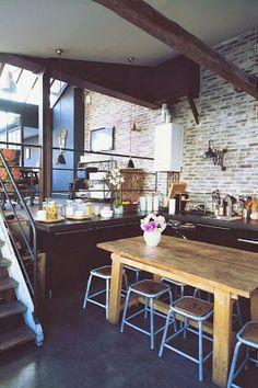 loft style kitchen design: love the brick and open plan. #lofts #loftdesigns #loftstyle