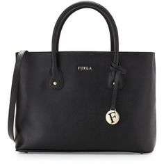 Furla Josi East-West Medium Leather Tote Bag ($162) ❤ liked on Polyvore featuring bags, handbags, tote bags, black, leather tote bags, zippered tote bag, leather zip tote, leather zipper tote and black purse
