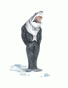 A watercolor print of a very dapper shark wearing a formal tuxedo. Much like guys in tuxedos, sharks are sexy and intimidating and I love watching them from afar. Via Yankee Dime Creations on Etsy. $22