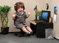 PsBattle: This Baby in a Miniature Office Freaking Out.