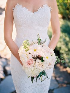 Romantic floral wedding bouquet, light pink and cream roses // Alexandra Knight Photography