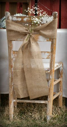 rustic burlap bow.... Reserved Chairs