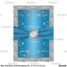 Blue and Silver Foil Monogram Wedding Invitation