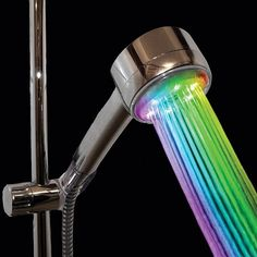 Color Changing Shower head. Lights up using the power of water pressure - no batteries required! http://www.walletburn.com/Color-Changing-Showerhead_667.html #bathroom #giftideas #home