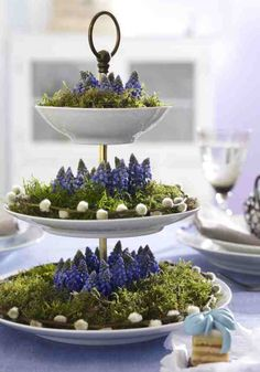 Frühlingsdeko mit Etagere, Moos und Blumen Spring decoration with cake stand, moss and flowers Deco Floral, Arte Floral, Floral Foam, Spring Decoration, Dessert Decoration, Centerpieces, Table Decorations, Easter Centerpiece, Purple Centerpiece