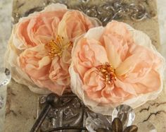 Parfait Collection -  Peche 547202 -  2 pcs Sheer silk fabric flowers with stamen  peach colored
