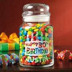 Personalized Treat Jar... would be cute as a Honeymoon Fund jar for an engagement gift.