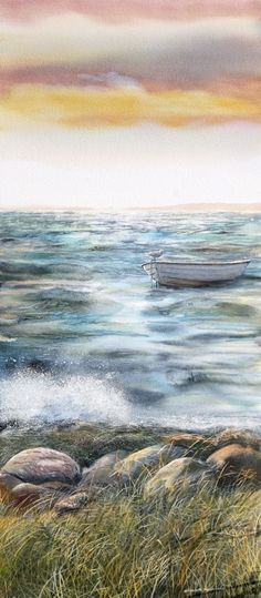 elizabeth tyler watercolor art - Google Search Don't you just feel how the artist sees the scene? The waves and the little boat wadding in the water. I love this!