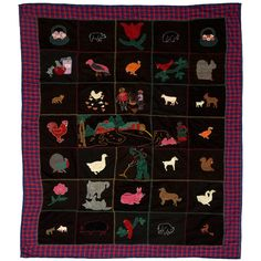Wool Farm Scene Applique Quilt | From a unique collection of antique and modern quilts at https://www.1stdibs.com/furniture/folk-art/quilts/