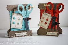 Great idea for a Stampin' Up! hostess gift - everything on the card is reusable! Ribbon, brads, mini library clip and clothespin... A great way to share products with workshop hostesses!