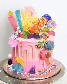 Getting Creative Amazing Cool and Beautiful Birthday Cakes Ideas 26 Candy Birthday Cakes, Homemade Birthday Cakes, Candy Cakes, Birthday Cake Girls, Cupcake Cakes, Trolls Birthday Party Ideas Cake, Sweetie Birthday Cake, Sixth Birthday Cake, Candy Theme Cake