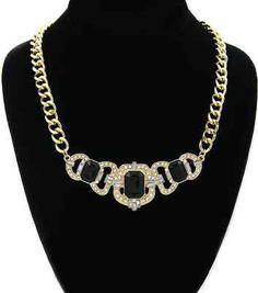 Gold and Black Rhinestones Short Glamorous Necklace Chain Stylish Baroque Style