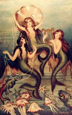 Mermaids by Carlos Chiostri This is one of three cards by Chiostri that Tim framed for me. Will post all 3 later.