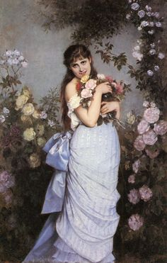 Auguste Toulmouche (french painter) - A Young Woman In A Rose Garden