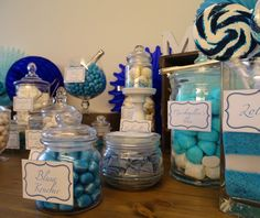Candybar blue/white Wedding Blue White Weddings, Blue And White, Candy, Sweet, Home Decor, Blue, Decoration Home, Room Decor, Candles