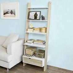 SoBuy® Estanterías librerias, Biblioteca de almacenamiento en rack 5 estantes con 1 armario moderno, FRG112-WN, ES