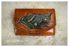 Custom Leather Belt Pouch with Peacock Design - Leather Bag Belt Loop Peacock Pouch Leather Pouch Hunting - Rustic Pouch Tooled Leather - (65.00 CAD) by AppaloosaLeather