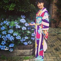 今日は紫陽花のお着物で #着物 #kimono #きもの #アンティーク着物 #紫陽花