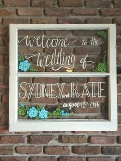 Vintage Wedding Window Welcome sign for Wedding Decor. https://www.etsy.com/shop/WhateverIsLovelyUS I am selling custom hand-painted vintage windows. These windows are lovely additions to any home, wedding, or garden. I customize all of my art to fit your desired colors, style, and floral embellishments so feel free to make specific requests in your orders. Can customize to be: Welcome sign Menu sign Schedule sign Etc. Window sizes and number of panes may vary depending availability.