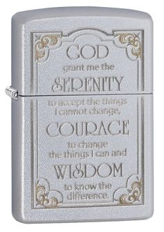 Serenity Prayer adorns this genuine Zippo windproof lighter enhanced with two-tone engraving for a gold-and-silver look. Satin chrome finish resists scratches and fingerprints. Refill with Zippo premium lighter fluid for dependable, long-lasting service. Distinctive bottom stamp identifies this lighter as genuine Zippo. Packaged in an individual gift box with Zippo Lifetime Guarantee.