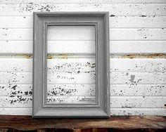 grey 16x20 picture frame chunky rustic 2 thick moulding shabby chic vintage style dark charcoal gray painted distressed wall photo frame