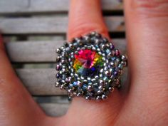 Beadwoven Alien Eye'' Swarovski crystal ring. Silver by ViaKalina