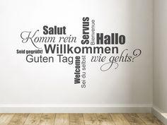 Wandtattoo Hallo, Guten Tag.. Wortwolke mit Begrüßungen in deutscher Sprache - mehr Wandtattoo Sprüche in Deutsch und Englisch hier entdecken :)