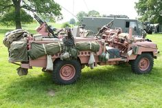 22 SAS long wheel base Land Rover (Pink Panther) with internal fuel tanks situated either side of the rear gunners seat.  This concept allowed for longer mobility operations without re-supply and the requirement for no fuel jerrycans to be carried.