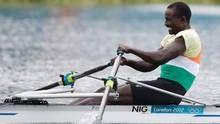 Niger's Hamadou Djibo Issaka competes in a men's rowing single sculls semifinal in Eton Dorney, near Windsor, England, at the 2012 Summer Olympics, Tuesday. (Natacha Pisarenko/AP)
