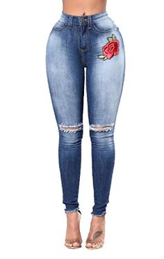 9cfe3858a2e Abetteric Freely Women Embroidery Ripped Novelty Hole Pockets Cropped  Leggings Jeans  Ripped Jeans