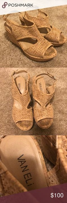Super cute and Comfortable Tan Cork Wedges These are an adult 4.5!!! Worn a few times. They are super duper comfortable, but sadly I grew out of them. Vaneli Shoes Wedges