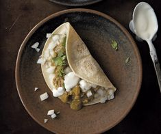 pork in green sauce taco
